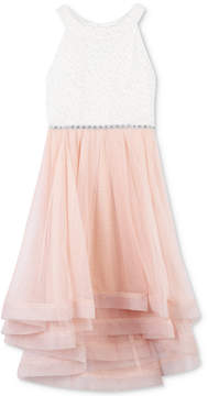 Speechless Glitter Lace-Bodice Dress, Big Girls (7-16)