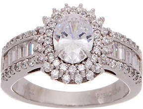 Diamonique Oval Halo Ring with Baguette Band,Platinum Clad