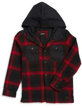 Buffalo David Bitton Boy's Plaid Shirt with Attached Hood
