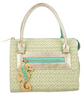 Eric Javits Metallic Leather & Woven Canvas Bag