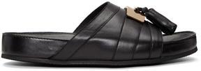 Balmain Black Leather Pom Pom Sandals