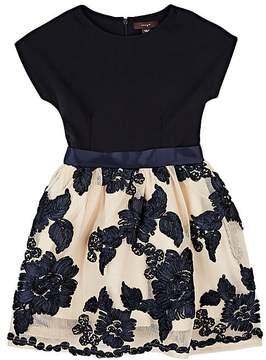 Imoga Flower-Embellished Ponte & Mesh Dress