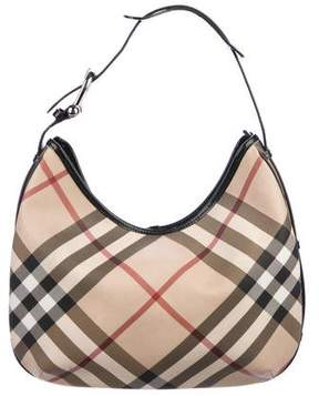 Burberry Leather-Trimmed Super Nova Check Hobo