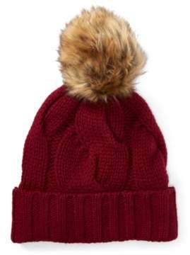 Ralph Lauren Rope Cable-Knit Pom-Pom Hat Wine One Size