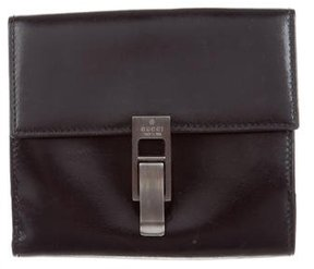 Gucci Leather Compact Wallet - BLACK - STYLE