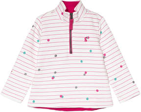 Joules Cream and Pink Stripe and Spotted Quarter Zip Fleece