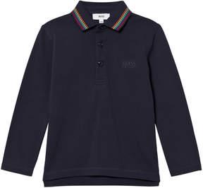 BOSS Navy Long Sleeve Polo with Multi Colour Collar