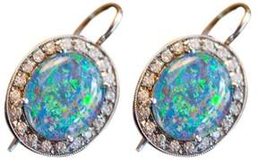 Andrea Fohrman 18K White Gold Australian Opal and Diamond Earrings