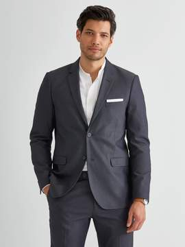 Frank and Oak The Laurier Textured Cotton Blend Blazer in Mixed Navy