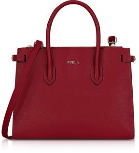 Furla Cherry Leather Pin Small E/W Tote Bag