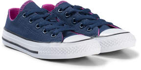 Converse Navy and Pink All Star Double Tongue OX Junior Trainers