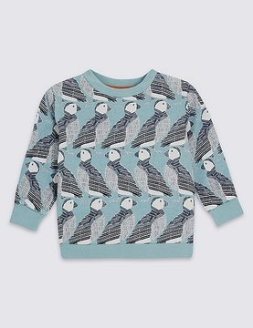 Marks and Spencer Pure Cotton Puffin Print Sweatshirt