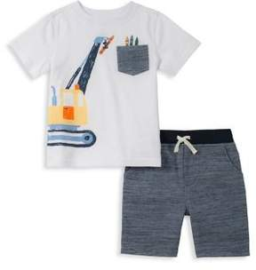 Kids Headquarters Little Boy's Two-Piece Graphic Illustration Tee and Drawstring Shorts Set