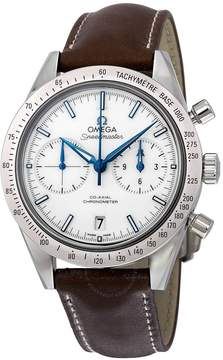 Omega Speedmaster 57 Chronograph White Dial Brown Leather Men's Watch