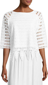 Joan Vass Woven Lace Top, White