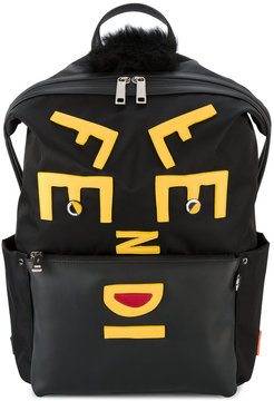 Fendi Face leather applique backpack