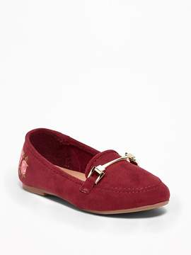 Old Navy Sueded Rose-Graphic Loafers for Toddler Girls