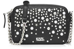 Karl Lagerfeld Embellished Leather Shoulder Bag