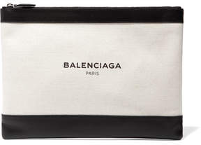 Balenciaga - Clip Medium Leather-trimmed Canvas Pouch - Black