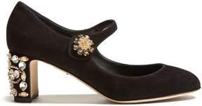 Dolce & Gabbana Crystal-heel suede pumps