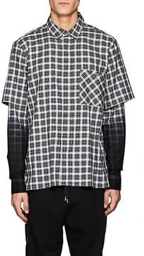 Public School Men's Dunlap Plaid Layered-Sleeve Cotton Shirt