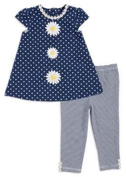 Little Me Baby Girl's Two-Piece Floral Dress and Striped Leggings Set