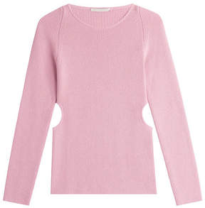 Emilia Wickstead Wool-Silk-Cashmere Ribbed Pullover with Cutouts