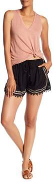 Angie Contrast Embroidered Hem Shorts