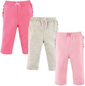 Hudson Baby Light Gray, Light Pink & Pink Ruffle Leggings Set - Infant
