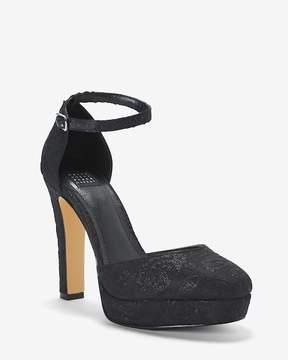 White House Black Market Jacquard Ankle Strap Platform Heels
