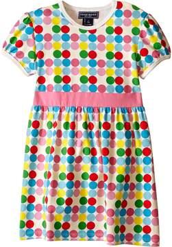 Toobydoo Short Sleeve Dot Dress w/ Navy Belt (Infant/Toddler)