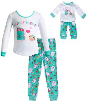 Dollie & Me Girls 4-14 Friends Forever Milk & Cookie Top & Bottoms Pajama Set