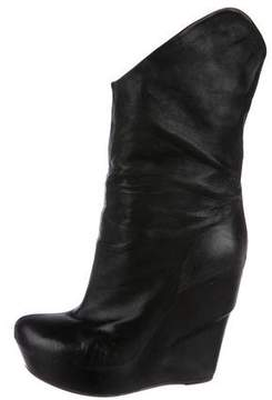 Vic Matié Leather Wedge Mid-Calf Boots