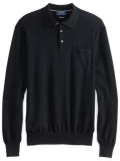 Ralph Lauren Polo-Collar Cotton Sweater Polo Black Xs