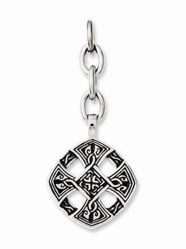Celtic Chisel Stainless Steel Cross Charm
