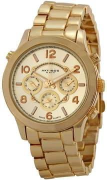 Akribos XXIV Champagne Dial Gold-tone Ladies Watch