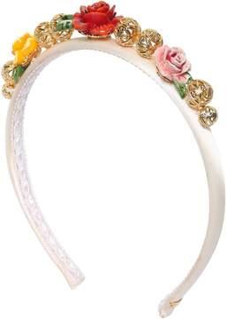 Dolce & Gabbana Floral Embellished Satin Headband