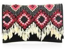 Tory Burch Brooke Embellished Clutch - BLACK - STYLE