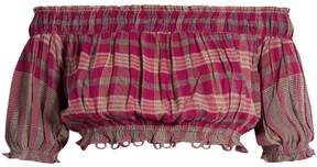Apiece Apart Oeste off-the-shoulder plaid cropped top