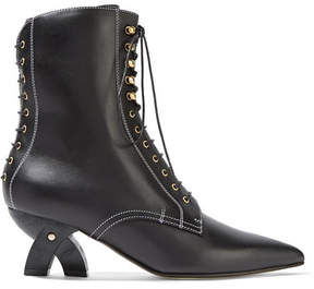Loewe Lace-up Leather Ankle Boots - Black