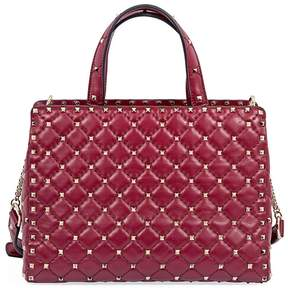 Valentino Rockstud Spike Quilted Leather Tote- Red