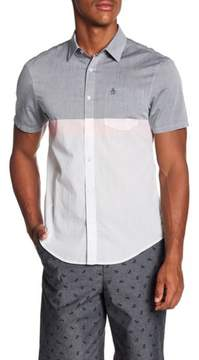 Original Penguin Short Sleeve Colorblock Slim Fit Woven Shirt