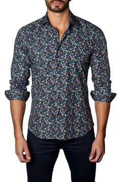 Jared Lang Trim Fit Leaf Print Sport Shirt
