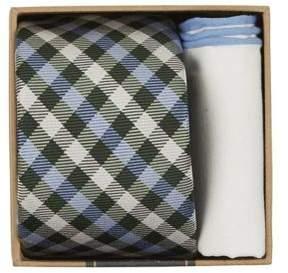 The Tie Bar Plaid Silk Tie and Pocket Square Set