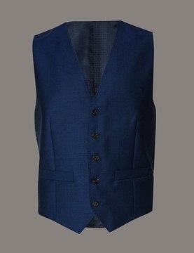 Marks and Spencer Blue Tailored Fit Wool Waistcoat