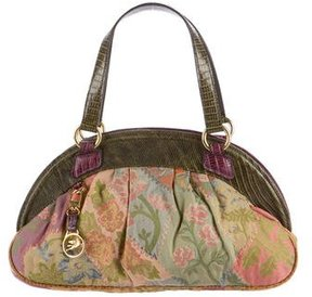 Etro Lizard-Trimmed Jacquard Bag