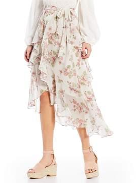Chelsea & Violet Floral Print Tiered Ruffle Hi-Low Wrap Midi Skirt