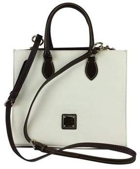 Dooney & Bourke White & Brown Textured Leather Janine Satchel