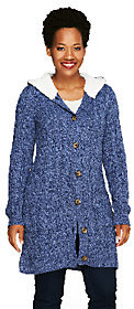 Denim & Co. As Is Sweater Cardigan with Sherpa Trim