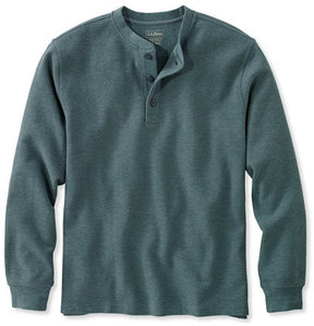 L.L. Bean Unshrinkable Mini-Waffle Henley, Long-Sleeve Traditional Fit